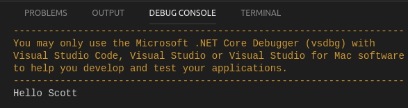 Run with VSCode result